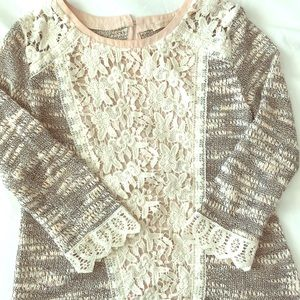 Anthropologie Quarter Sleeve Lace Front Sweater
